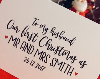 To my Husband at Christmas, First Christmas as Mr and Mrs, Personalised Christmas Card, First Married Christmas