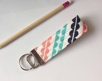 Key wristlet fob keychain fob wristlet key fob key ring women's girls accessories- white, blue and pink designer fabric