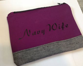 Personalized makeup bag zipper pouch custom monogram cosmetic bag sunglasses pouch  - monogrammed zippered pouch