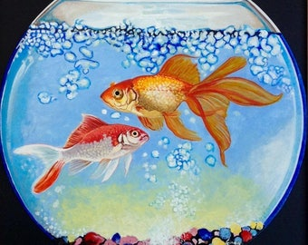 Goldfish Bowl Limited Edition A3 Print Of Original Painting Realism Unique Art Acrylic Painting