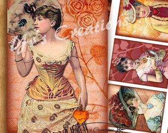 VICTORIAN LADIES & HEARTS Atc Cards - Aceo - Scrapbooking - Valentines - Journaling - Gift Tags - Mixed Media - Digital Collage Sheet