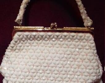 1950s Handbag / Fantastic Fully Beaded  Ladies Handbag / Purse / Beads in shape of flowers