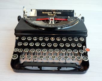 Remington Portable Model 5 Typewriter with Case, 1930s Portable Typewriter, Working Typewriter in Excellent Condition
