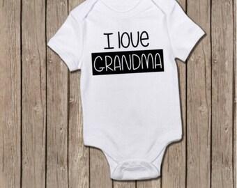 I Love Grandma Onesie, Grandparent Reveal, Pregnancy Announcement, Baby Reveal, Grandparent Onesie