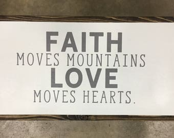 Faith Moves Mountains framed sign