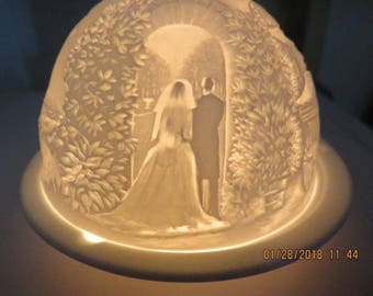 Limoges Bernardaud France Lithophane Votive Candle Wedding Scenes