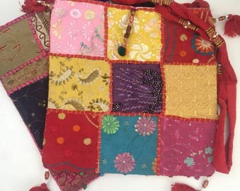 Fabric purses from Nepal-cotton patchwork bag-hippie- boho purse