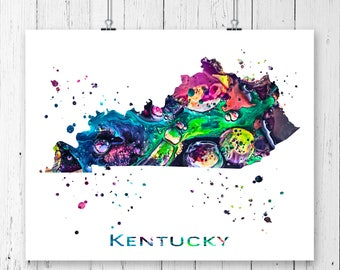 Kentucky map print etsy for Ky bourbon trail craft tour map