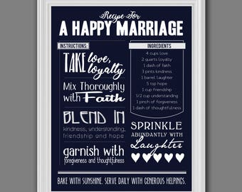 Happy Marriage Recipe Art (Print) | Kitchen/Home Wall Decor | Wedding Gift