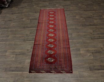 3X10 Nice Handmade Runner Turkoman Persian Rug Oriental Area Carpet 3ʹ4X9ʹ8