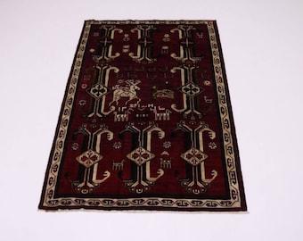 Awesome Animal Design Unique Signed Shiraz Fars Persian Rug Oriental Carpet 7X9