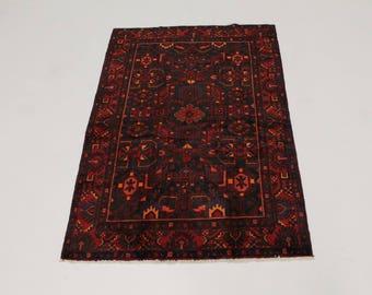 Tribal Handmade Vintage Hamedan Persian Rug Oriental Area Carpet Sale 4'5X6'7