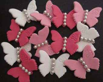 24 edible fondant BUTTERFLY cupcake toppers. Princess birthday party.