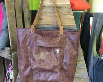 FABRIC LEATHER TOTE BAG