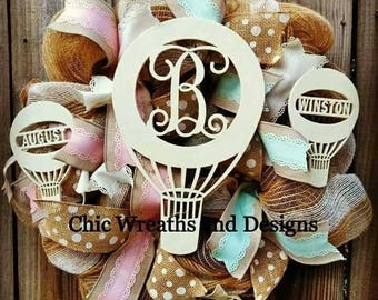 Free Shipping Personalized Hot Air Balloon Baby Wreath