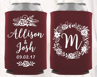 Personalized Wedding Can Cooler | Floral Wedding Can Cooler | Wedding Favors, Beverage Insulators, Beer Huggers | Gift for Wedding Guests