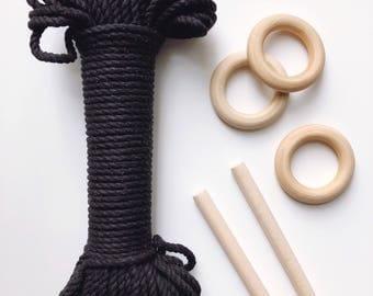 BLACK Natural cotton rope, 100 ft/30.5 m three strand twisted cotton rope, cotton rope
