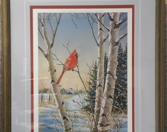 Fence Line Neighbor - Cardinal by Samuel Timm in 1986, #244/950, signed by artist