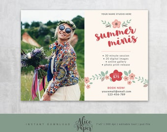 Summer Mini sessions, Marketing Template, Marketing Board, Mini Session Template, Summer Photography, Photoshop, PSD