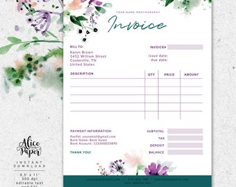 invoice template | etsy, Invoice templates
