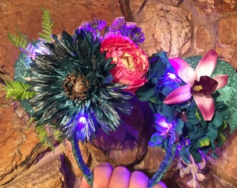 Pandora Inspired Flower Crown Ears with Lights