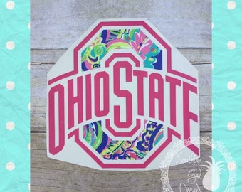 Lilly Pullitzer Inspired Ohio State Vinyl Car Decal
