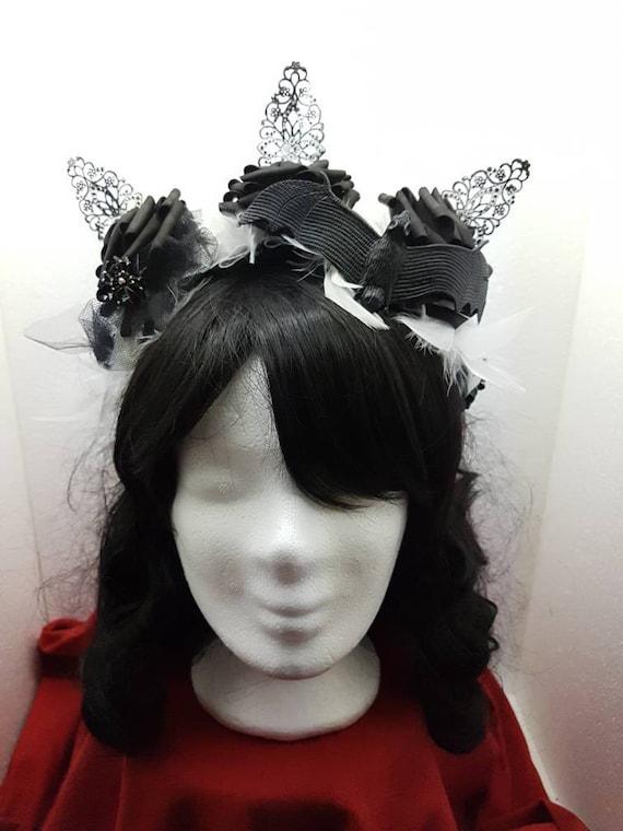 SALE Gothic halloween bat spider roses headpiece white black / bat spinning rose headpiece in white black