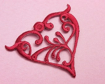 Applique red heart Burgundy embroidery for wedding, scrapbooking, cardmaking, sewing jewelry, decor