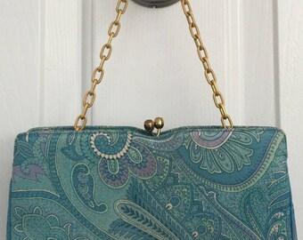 Vintage MM Morris Moskowitz handbag clutch paisley print fabric gold chain, mint