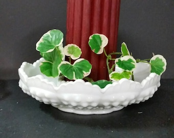 Vintage Fenton Milk Glass hobnail candle holder bowl.  8 inch