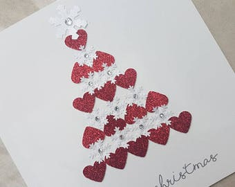 Christmas Card - Handmade Christmas Tree Card - Personalised Option - Hearts - Snowflakes - Christmas Tree Heart and Snowflake Design