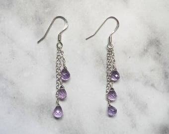 Lavender Amethyst Earrings, Gemstone Earrings, Waterfall Earrings, Cluster Gemstone Earrings, Purple Earrings, Long Earrings, Amethyst