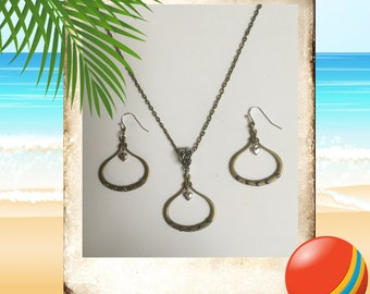 Brass And Silver Necklace & Earrings