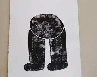 Headfoot linoprint