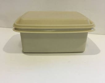 On Sale Vintage Tupperware, ice cream keeper, 1254-10,lunch box, container, storage, freeze and save, retro, almond, plastic, Tupperware, de