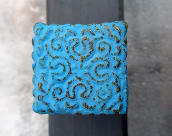 Turquoise Blue Square Drawer Knob Drawer Pull Cupboard Knob or Dresser Drawer Pull, Modern & Contemporary Decorative Furniture Knob
