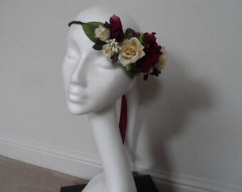 Floral Crown, Wedding Crown, Flower Hairpiece,Headpiece, Boho Crown, Silk Flower Crown, Rustic