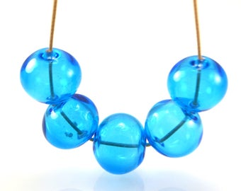 handmade lampwork glass hollow beads blue glass beads transparent bead large beads focal lampwork bead sphere