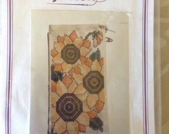 Sunflowers cross stitch eyeglass  case kit