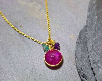 Genuine ruby pendant necklace, ruby necklace gold, ruby pendant gold, dainty ruby necklace, ruby anniversary gift, ruby pendent gold,