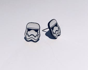 Storm Trooper Enamel Studs / Starwars Studs / Animated Studs
