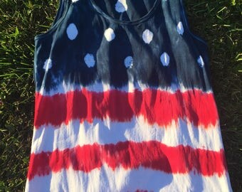 Red White and Blue American Flag Custom Tie-Dye Tank Top Womens