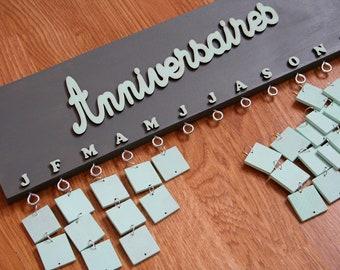 Calendrier d'anniversaires perpétuel - Gris souris et vert d'eau - Bois - Décoration de pièce à vivre