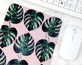 Natural Pattern Mouse Pad Green Leaves Unique Desk Decorations