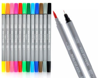 Dual Tip Brush Pens Color Fineliner Pens For Drawing Coloring Books Sketching and Illustration