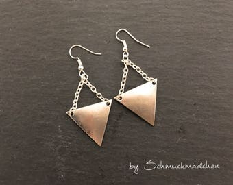 Ear ringer earrings silver triangle