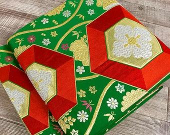 K72909 Beautiful Green Hexagnal Pattern Obi Kimono Belt Fukuroobi