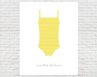 Maillot de Bain Print - Printable Art, Instant Download