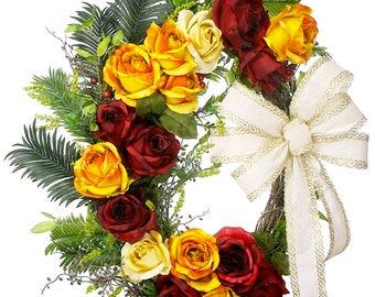 Rose Grapevine - Rose Decor - Grapevine Wreath - Floral Wreath - Realistic Flowers - Grapevine Decor - Front Door Decor