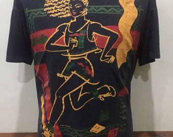 Vintage TY WILSON Running Art 2 Wear Over Sized Printed T shirt